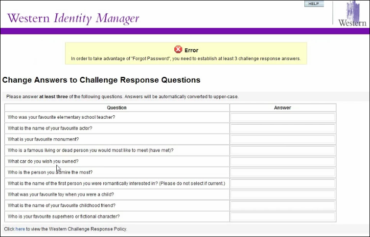 Choosing three challenge questions