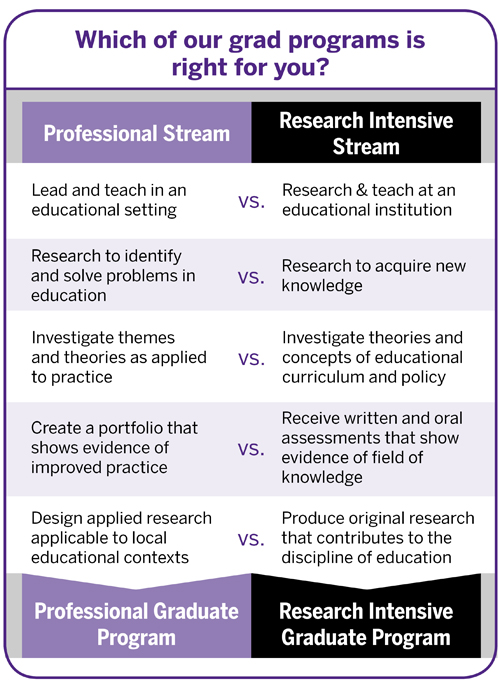 Comparison of professional and research-intensive streams